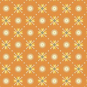 geometric stars foulard orange medium