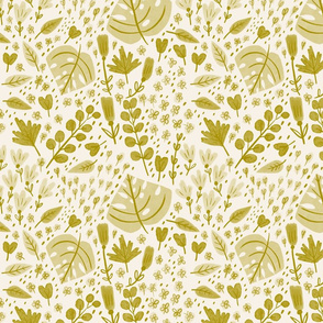 Hand-drawn Scattered Floral Olive Yellow
