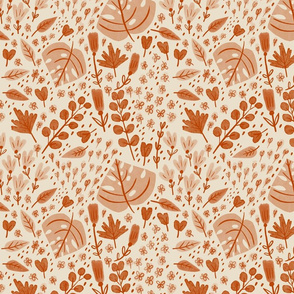 Hand-drawn Scattered Floral Terra Red