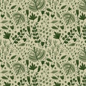 Hand-drawn Scattered Floral Olive