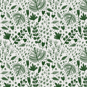 Hand-drawn Scattered Floral Forest Green