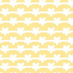 white stripes and flowers on yellow small