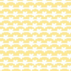 white stripes and flowers on yellow tiny