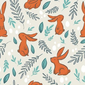 Orange Rabbits on Beige