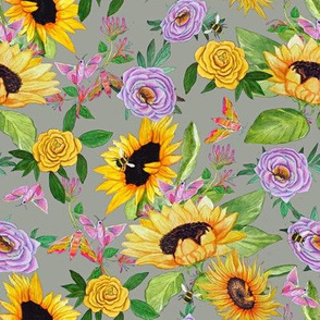 sunflower and bees summer English garden floral dream