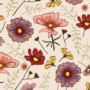 Hand Drawn Flowers Repeat Pattern