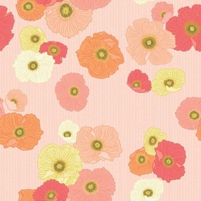 Citrus Spring Poppies - Large Scale