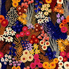 Wildflowers On Black - Large