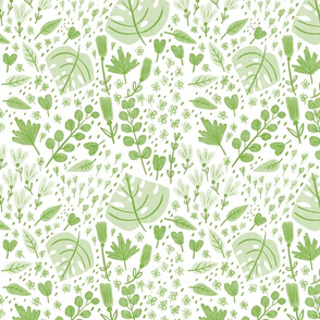 Hand-drawn Scattered Floral Grass Green