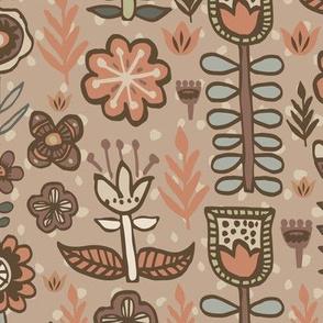 Earthtone Scandinavian Flowers Hand-drawn