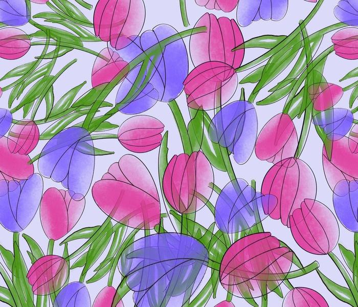 Transparent Tulips on Lavender