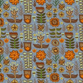 Earthtone Scandinavian Flowers Hand-drawn Colorful
