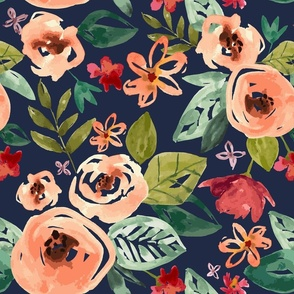 Hand-painted Floral Navy - Large