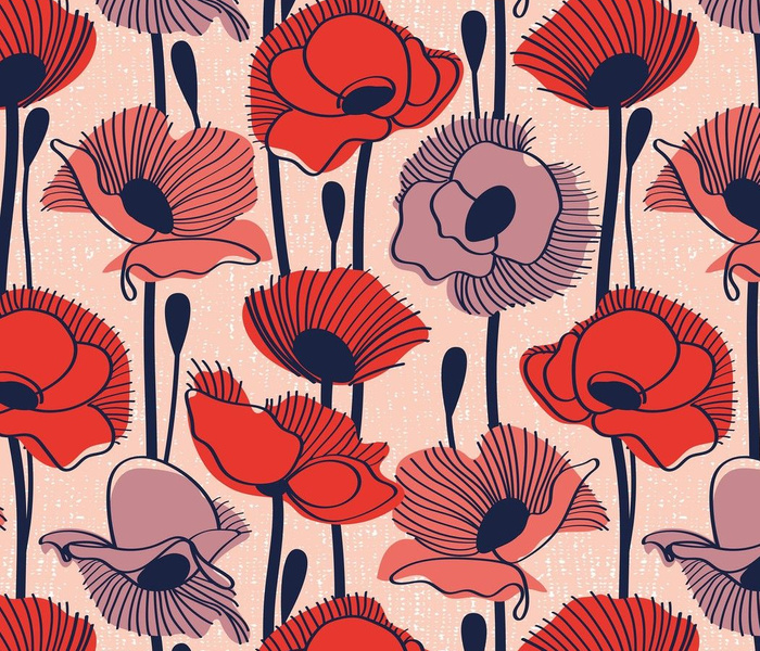 Field of poppies // normal scale // rose background neon red orange shade coral and dry rose wildflowers oxford blue line contour