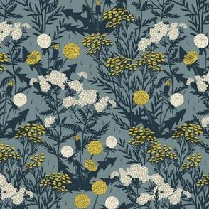 Weeds I Love - Medium - Teal - Dandelion, Yarrow, Tansy