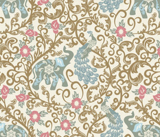 Elephant and Peacock Rococo- Bronze Gold Filigree with Pale Artichoke Green Indian Elephant Pewter Blue Peacock Blush Pink Flowers on Eggshell White Linen Texture- Large Scale
