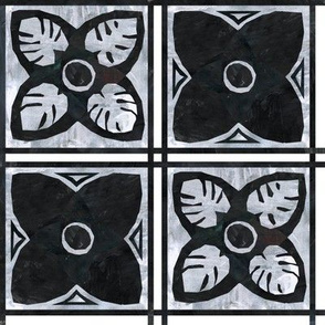 Black and grey square flowers