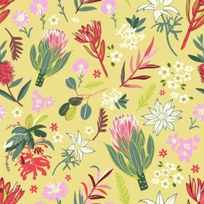 Australian Natives Floral-Yellow-Larger scale