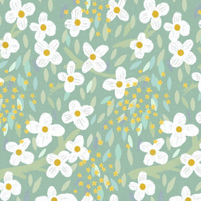 Hand Drawn Carolina Garden M+M Eucalyptus by Friztin