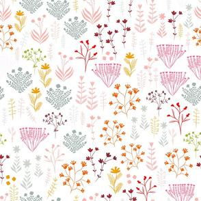 Tiny Handdrawn Botanical Floral - M1 - White