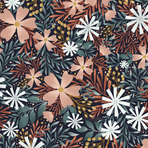 Night Garden Floral - moody flowers on navy  - large
