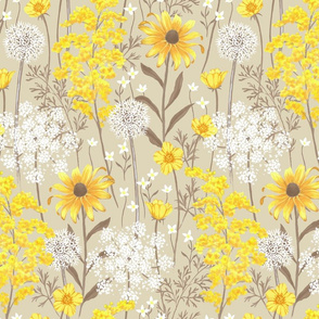 Late Summer Wildflowers - beige - large scale