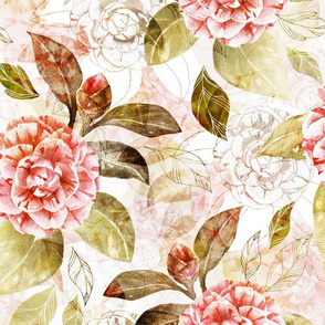 Watercolour and ink Camellia large scale