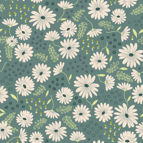 Summer Daisies in Dusty Teal