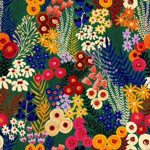 Blooming Summer Florals - Large Scale