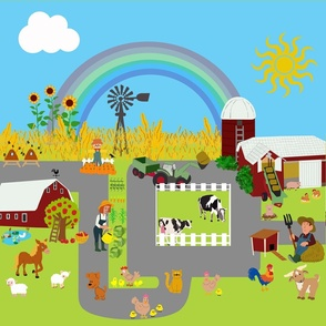 Playmat 'At the farm' 55x55cm