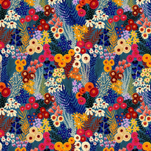 Summer Wildflowers Teal Blue Orange Pink White - SMall