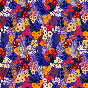 Painted Florals Blue Orange Pink - SMall