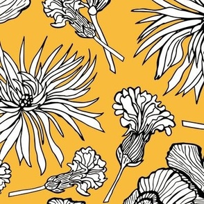Inked Dried Flowers, Tablecloth size