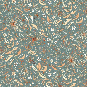 Flowers and seeds (copper teal) medium scale