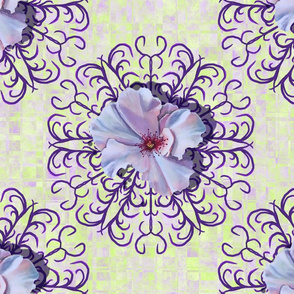 White Watercolor Rose and Antler Inspired Mandala on Scattered Plaid in Lime Green and Purple