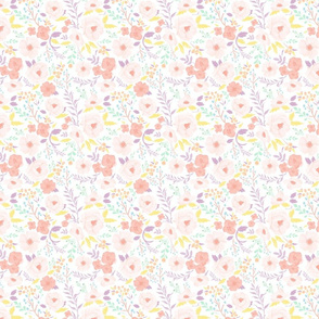 Sm/Med Scale - Pastel Meadow Floral (watercolor floral for easter, spring, summer, girls, pastel colors)