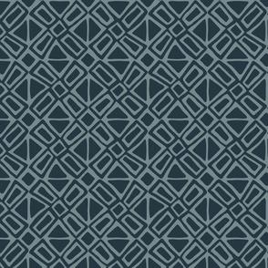 Pinwheel Block - Medium -  Dark Teal on Agean Teal