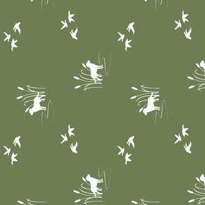 hunting scene olive green 90