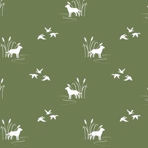 hunting scene olive green