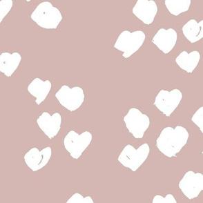 Messy animal print abstract hearts minimal spots and dots design cheetah dalmatian print boho nursery neutral mauve pink JUMBO wallpaper