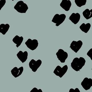 Messy animal print abstract hearts minimal spots and dots design cheetah dalmatian print boho nursery neutral stone blue JUMBO wallpaper