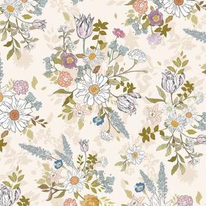 Eden Floral (cream) LRG
