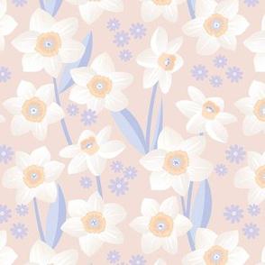 Spring daffodil garden flowers sweet colorful daffodils blossom boho nursery lilac blush white