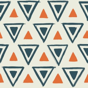 Navy & Orange Triangles
