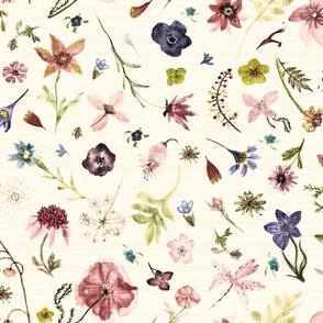hand drawn flowers w linen texture