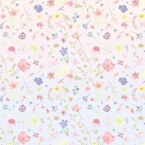 ombre watercolor floral