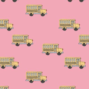 Little adorable schoolbus back to school design iconic usa bus classroom theme pink yellow
