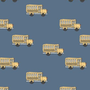 Little adorable schoolbus back to school design iconic usa bus classroom theme cool navy blue
