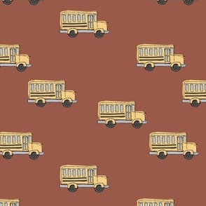 Little adorable schoolbus back to school design iconic usa bus classroom theme rust brown stone red