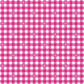 Stitched Gingham* (Pink Diana) || check star starburst stitching needlework checkerboard spring summer 70s retro vintage